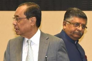 Chief Justice of India Ranjan Gogoi with Union minister for Law and Justice Ravi Shankar Prasad during the inaugural function of Constitution Day celebrations at Vigyan Bhawan in New Delhi, India, on Monday, November 26, 2018.