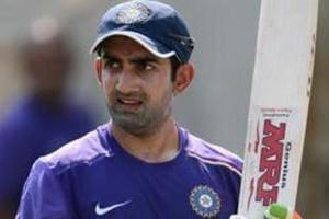 Gautam Gambhir of India waits to bat during a nets session at Sardar Patel Stadium.