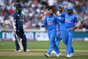 Kuldeep Yadav of India celebrates with Rohit Sharma after dismissing David Willey of England during the Royal London One-Day match between England and India at Trent Bridge on July 12, 2018 in Nottingham, England.