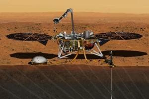 The NASA Martian lander InSight dedicated to investigating the deep interior of Mars is seen in an undated artist
