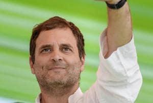 Congress president Rahul Gandhi waves during a public meeting at Rajkiya Mahavidyalaya Ground in Pokhran on November 26.