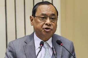 Chief Justice of India Ranjan Gogoi addresses the inaugural function of Constitution Day celebrations, in New Delhi, Monday, Nov. 26, 2018.