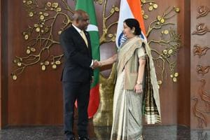 External affairs minister Sushma Swaraj meets with her Maldives counterpart Abdulla Shahid in New Delhi.