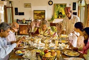 In the dining room:Breakfast at a well-appointed household.