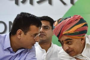 Manvendra Singh (right), former BJP MLAfrom Sheo, is contesting the December 7 assembly electin in Rajasthan on a Congress ticket. He is seen here with senior Congress leader Randeep Singh Surjewala, after he joined  Congress party at AICC in New Delhi,  on , October 17, 2018.