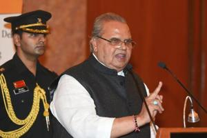 Jammu and Kashmir governor Satya Pal Malik addresses a gathering in New Delhi.
