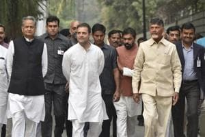 Congress party president Rahul Gandhi and Chief Minister of Andhra Pradesh N Chandrababu Naidu and other party leaders arrive to address media personnel after a meeting outside Gandhi's residence in New Delhi on November 1.