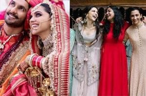 Deepika Padukone's wedding picture (left) and a picture from one of her pre-wedding functions.