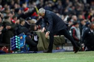 Manchester United manager Jose Mourinho reacts as he celebrates Manchester United