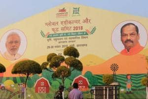 Preparation in progress at Mega sports complex the venue for Global agriculture and food summit at Hotwar in Ranchi, India, on