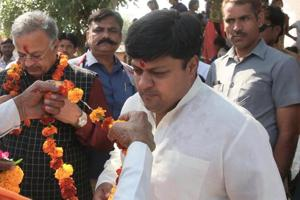 BJP MP Dushyant Singh (in white kurta) is campaigning on behalf of his mother, chief minister Vasundhara Raje, who is busy criss-crossing the state holding rallies ahead of the assembly elections in Rajasthan.