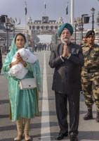 Union MoS (I/C) in the Ministry of Housing and Urban Affairs Hardeep Singh Puri and Union Minister for Food Processing Industries Harsimrat Kaur Badal before leaving for Pakistan to attend the groundbreaking ceremony of Dera Baba Nanak-Kartarpur Sahib corridor.