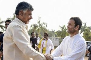 Khammam: Congress President Rahul Gandhi being greeted by Andhra Pradesh Chief Minister Chandrababu Naidu during an election campaign for Telangana Assembly elections, in Khammam, Telalngana, Wednesday, Nov 28, 2018. (PTI Photo) (PTI11_28_2018_000158B)