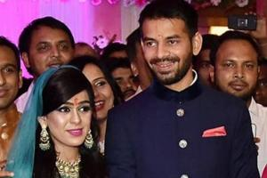 Tej Pratap Yadav with his wife Aishwarya Rai during their engagement function in Patna.