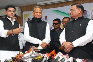 Rajasthan Congress chief Sachin Pilot and former Rajasthan chief minister and Congress general secretary Ashok Gehlot during the release of party manifesto for the Rajasthan State Assembly elections 2018 at Jaipur, Thursday, Nov. 29, 2018.