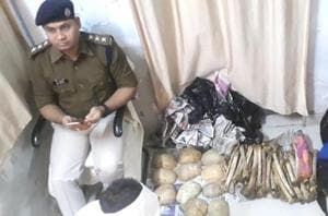 Skeletons recovered by rail police put on display at GRP police station in Chapra, Bihar.