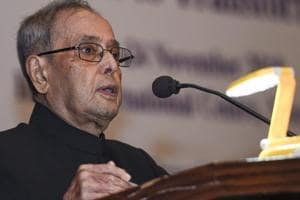 Former president Pranab Mukherjee addresses during the National Conference on