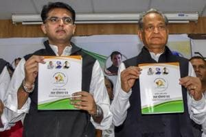 Rajasthan Congress chief Sachin Pilot and former Rajasthan chief minister and Congress general secretary Ashok Gehlot release the party manifesto for the Rajasthan Assembly elections 2018, in Jaipur.