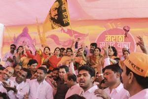 Members of the Maratha community celebrate at Azad Maidan in Mumbai.