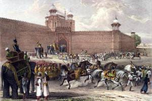 Festival of Buckrah Eade, Outside the fort at Delhi by John Luard, 1832-38