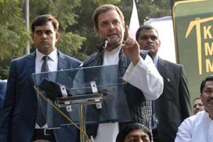 Congress president Rahul Gandhi addressed the tens of thousands of farmers who had marched to Jantar Mantar on Friday.