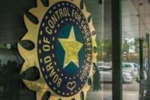 A view of logo of the Board of Control for Cricket in India (BCCI) during a Council meeting of the Indian Premier League (IPL).