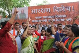 Celebrations at the BJP office in Nariman Point on Thursday.