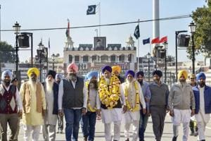 Attari: Shiromani Gurdwara Parbandhak Committee (SGPC) President Gobind Singh Longowal with SGPC members return after attending the groundbreaking ceremony for Kartarpur Corridor, at the India-Pakistan Wagah Post, about 35km from Amritsar, Friday, Nov. 30, 2018. (PTI Photo)
