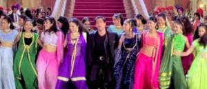 A still from 'Saajanji ghar aaye' in the 1998 film Kuch Kuch Hota Hai, which starred Shah Rukh Khan, Salman Khan (above), Kajol and Rani Mukerji. The film formula through this decade was clear — pack in as many stars as possible, build in a 'big dance number', set that number in a giant hall (preferably with a staircase towards the back), then fill the space with dancers.
