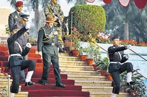 Army chief General Bipin Rawat (centre) at the passing out parade of 135th course of the National Defence Academy (NDA), in Pune on Friday.
