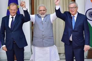PM Narendra Modi with Donald Franciszek Tusk, President of the European Council and Jean-Claude Juncker, President of the European Commission before their meeting at Hyderabad House, in New Delhi on Friday.