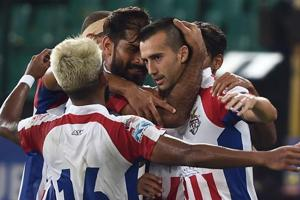 Chennai: ATK's Manuel Lanzarote celebrates with teammates after scoring his second goal against Chennaiyin FC.
