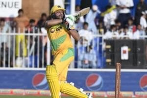 Shahid Afridi plays a shot during his unbeaten knock of 59 on Saturday.