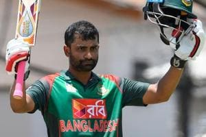 Tamim Iqbal celebrates his century during the 3rd and final ODI match between West Indies and Bangladesh.