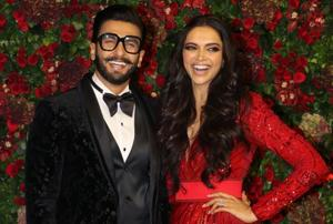 After arriving in the sparkling gown with a long trail, Deepika later modified it into a short dress for ease. Ranveer changed to a zebra print jacket for the after-party.