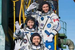 NASA astronaut Anne McClain, David Saint-Jacques of the Canadian Space Agency and Oleg Kononenko of the Russian space agency Roscosmos lifted off on Monday from the Russian-leased Baikonur cosmodrome in Kazakhstan.
