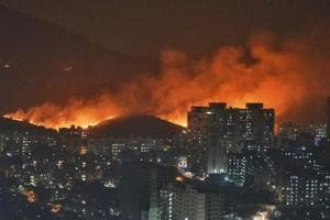 A major fire erupted in the Aarey forest near Goregaon suburb of north-west Mumbai on Monday evenin