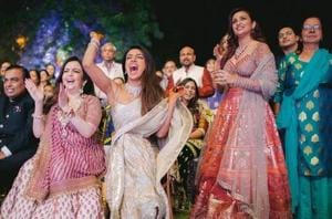 Priyanka Chopra and Parineeti Chopra at Priyanka