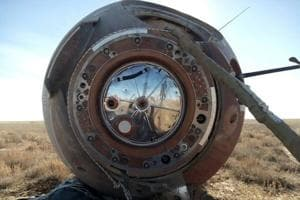 A view shows the Soyuz capsule transporting U.S. astronaut Nick Hague and Russian cosmonaut Alexei Ovchinin, after it made an emergency landing following a failure of its booster rockets, near the city of Zhezkazgan in central Kazakhstan.