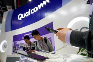 A Qualcomm sign is seen during the China International Import Expo (CIIE), at the National Exhibition and Convention Center in Shanghai, China November 7, 2018. REUTERS/Aly Song