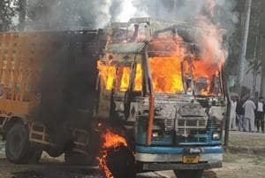 As the crowd swelled and blocked the national highway, police resorted to lathi charge and tear gas shells were used to disperse the crowd. A few protesters have suffered minor injuries in the incident, said police.