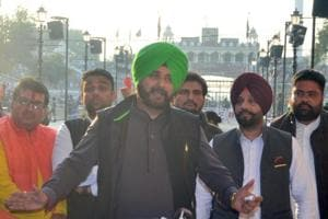 Punjab cabinet minister Navjot Singh Sidhu speaks to media after attending the groundbreaking ceremony for the Kartarpur Corridor, at the India-Pakistan Wagah Post.