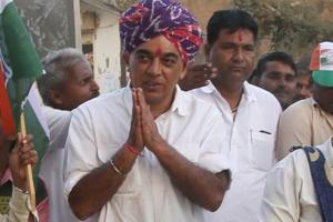 Rajasthan assembly election 2018: Manvendra Singh (in multicoloured turban) is contesting from the Jhalrapatan constituency on Congress ticket against Rajasthan CMVasundhara Raje in the December 7 assembly election in the state.