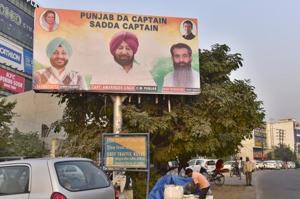 A hoarding proclaiming CMCapt Amrainder Singh as Punjab's Captain seen at Ferozepur road in Ludhiana on Sunday, December 2 , 2018.