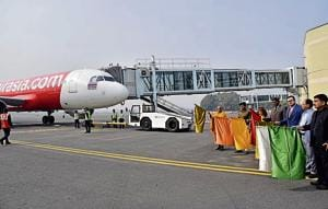The Air Asia aircraft at Gaya airport after its inaugural flight from Bangkok, on Monday