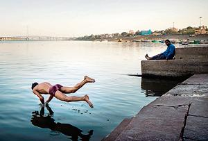 Daily life on the Ganga in Varanasi.