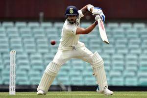 Virat Kohli plays a shot during his innings against Cricket Australia XI at the SCG.