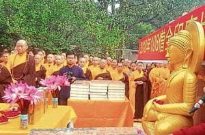 The chanting has been organised by the International Buddhist Council and All India Bhikhu Sangh and was held at Kalchakra Maidan but also under the Mahabodhi tree, where Buddha is said to have attained enlightenment.