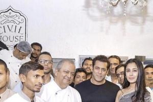 SalmanKhan and chef Hemant Oberoi at the Civil House in New Delhi.