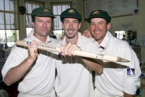 Steve Waugh, Damien Fleming and Ricky Ponting of Australia celebrate in the rooms after the game Waugh and Ponting scored centuries while Fleming took 5 wickets in the second innings, on day five of the first test between Australia and India, at the Adelaide Oval, Adelaide, Australia. Australia won by 285 runs.